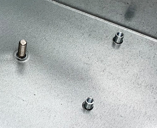 An M4 flush head fixing stud and two M3 blind standoffs fitted.